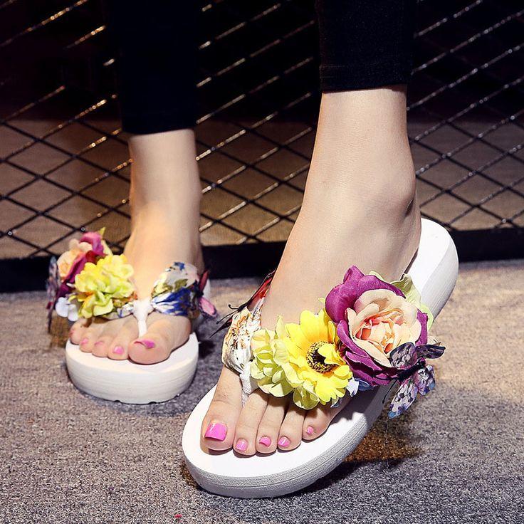 2017 Women Summer Shoes Flower Flip Flops Beach Shoes Sandals Women Slippers  Female Summer Shoes Talon Femme Chaussures