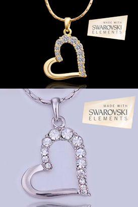 Collar shine heart, bañado en oro blanco con cristales Swarovski elements. El dije es de 37×2.6 cm  Largo de cadena 45 cm. Cadena gruesa.