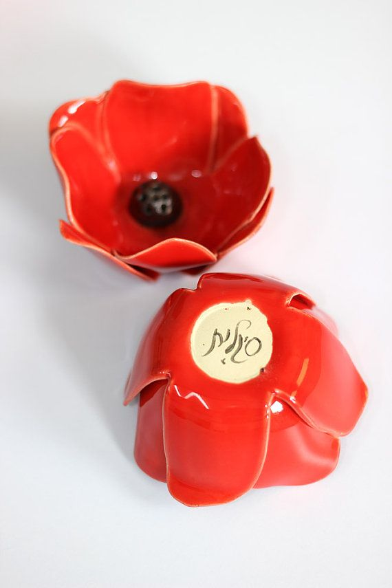 {This listing is for a set of 2 red flower incense holders}  This beautiful ceramic incense holder is made of white clay and glazed in delicious red