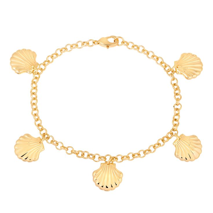 Pulseira de conchas folheado em ouro 18k - Francisca Joias