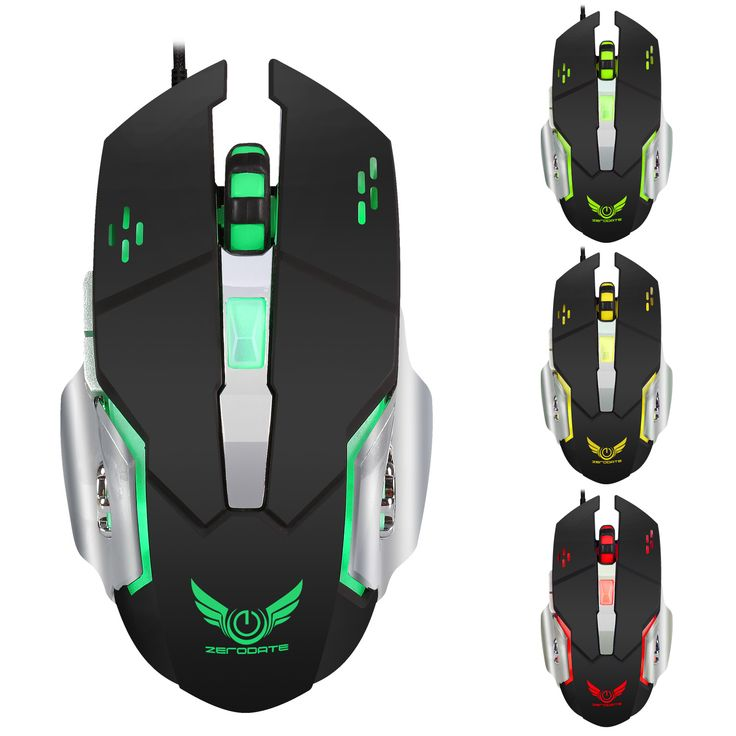Zerodate X500DU 4 LED Light Effect 3200 DPI Adjustable Mechanical Macros Define Gaming Mouse for PC