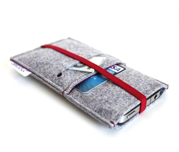 Θήκη από υψηλής ποιότητας felt, για iphone 4/4s, σε χρώμα γκρι – κόκκινο.