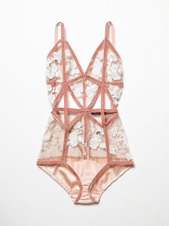 Darla Bodysuit | Sexy mesh bodysuit featuring allover floral stitched applique, velvet piping and silky panels. Cutouts along the waist and open back. Adjustable straps and hidden back zip for an easy, effortless fit. pinterest.com/lilsgiselle