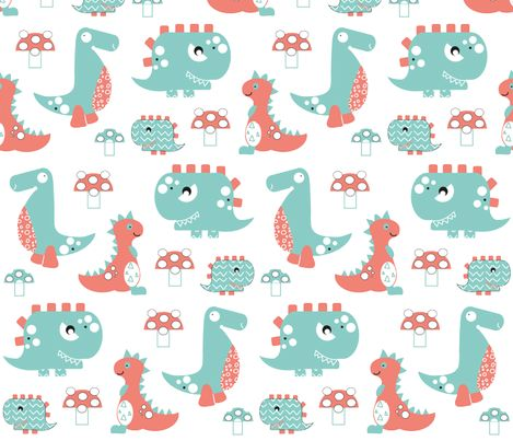 Dinosaur roar fabric by gemmacosgrove-ball on Spoonflower - custom fabric