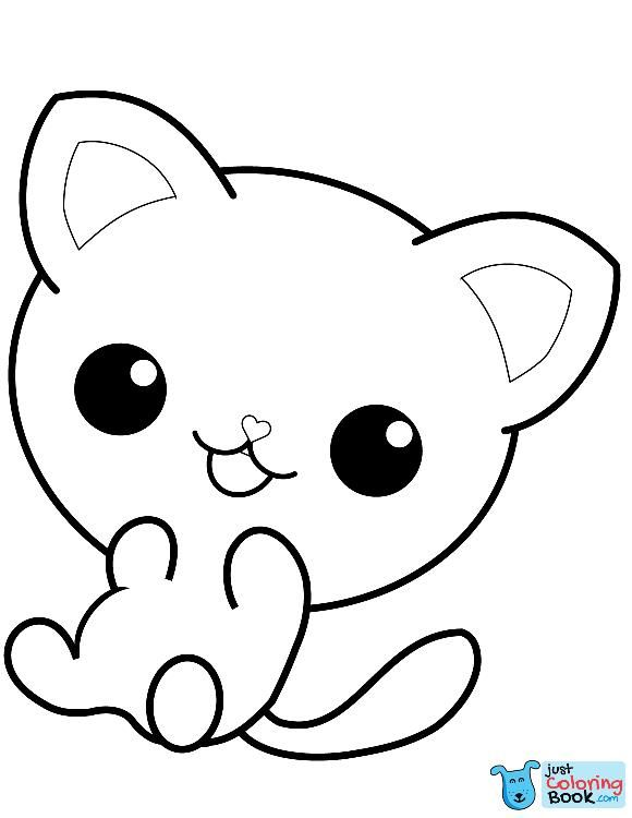 Kawaii Kitty Coloring Page Free Printable Coloring Pages Inside Cute Cat With A Ball On Its Head Coloring Kitty Coloring Cat Coloring Page Cute Coloring Pages