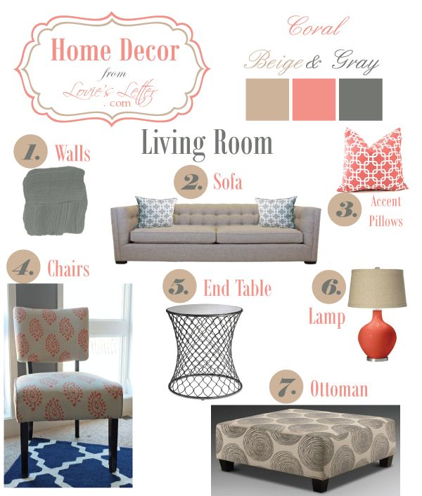 20 best images about family room on pinterest grey love stuff and neutral color scheme for Coral teal and brown living room