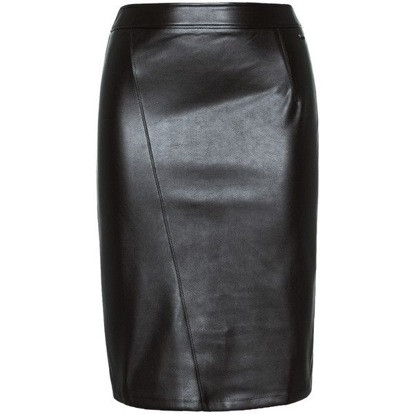 ViaDonatella Black Plus Size Button detail leather pencil skirt ($90) ❤ liked on Polyvore featuring skirts, black, plus size, leather skirt, plus size leather skirt, high waisted pencil skirt, slit pencil skirt and high-waist skirt