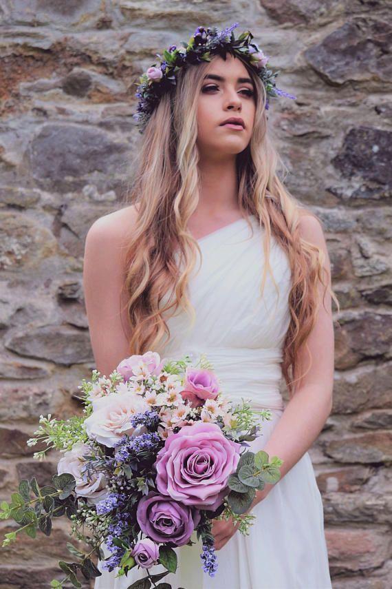 Lavender and Lilac Wedding bouquet, Lilac Wedding Flowers, Silk Bridal Bouquet, Wedding bouquet #affiliate #weddingbouquet #weddingideas #fastweddingplanning