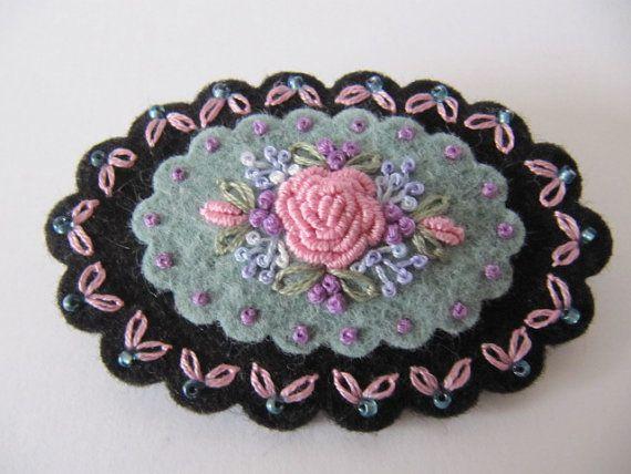 Wool Felt Hand Embroidered Brooch