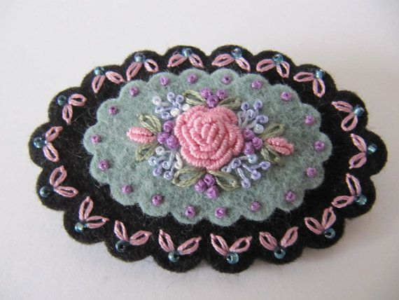 Wool Felt Hand Embroidered Brooch by mariadownunder on Etsy, $20.00