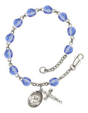 St. John Neumann Silver-Plated Rosary Bracelet with 6mm Saphire Fire Polished beads