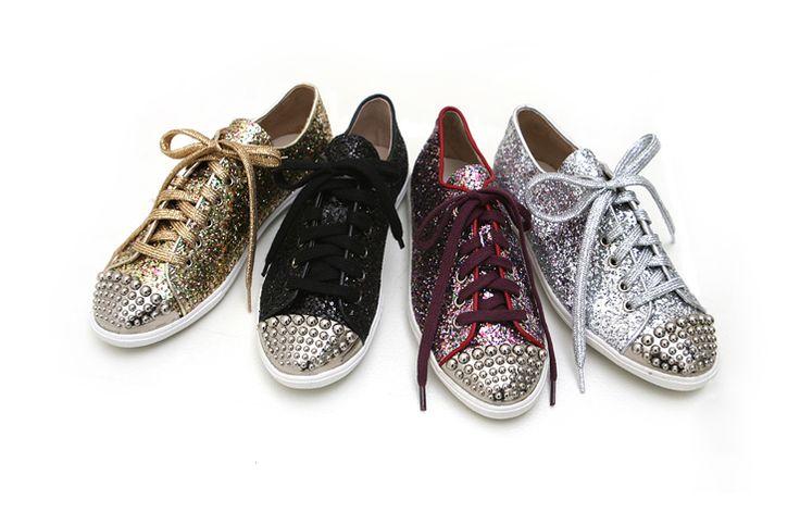 Sequin Studded SneakersFashion Beautiful, Shops Fashion, Studs Flats, Sequins Studs, Studs Sneakers