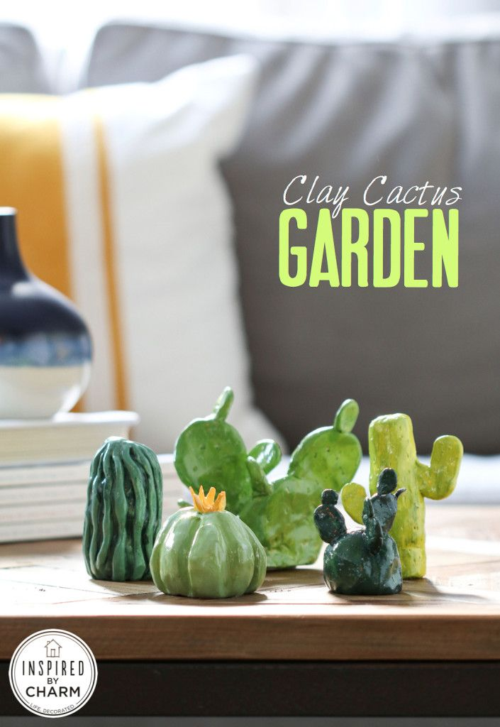 DIY Clay Cactus Garden - adorable little accessory for a bookshelf, coffee table, or even a favor / table decor for a dinner party!