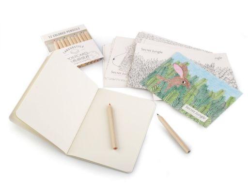 Kreativní sada pastelky, pohlednice a zápisník