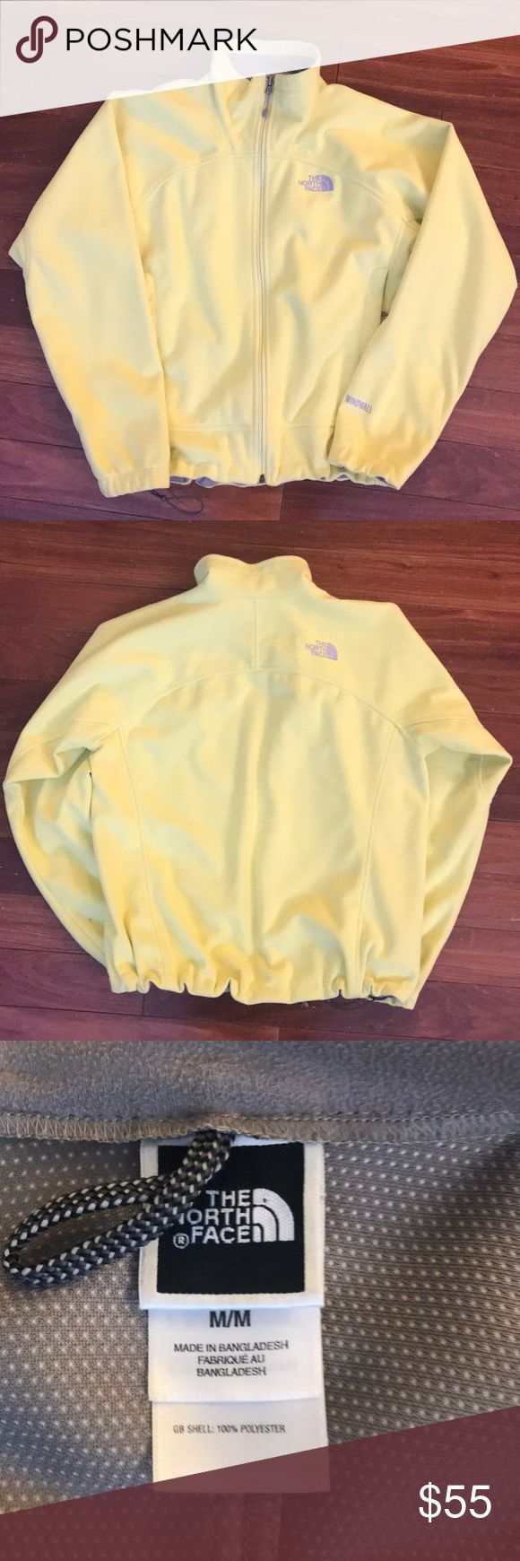 Yellow North Face spring jacket Lightweight fleece windfall jacket. Wind resistant. Outer is a soft yellow fleece and inner is a grey polyester lining. Super cute color for spring and. In overall good condition; no rips, holes, pilling or stains. Size M The North Face Jackets & Coats