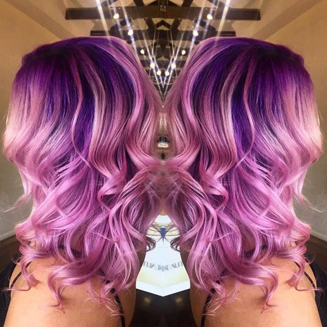 IG's lovely @zedhairandbeauty used Electric Amethyst and Purple Haze on the roots and Cotton Candy Pink with Electric Amethyst on the ends. Purple ombre to #dye for!