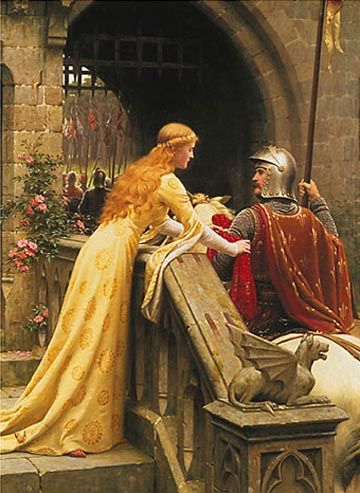 Like a Knight in Shining Armor, God Rescues Us with His Angels from the Evil One. - 'Godspeed' (1900) by Edmund Blair Leighton