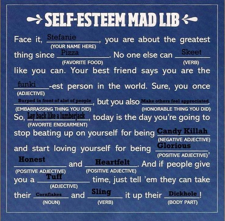 Self esteem worksheets with teens with
