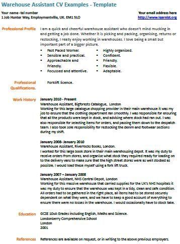 warehouse assistant cv example education pinterest