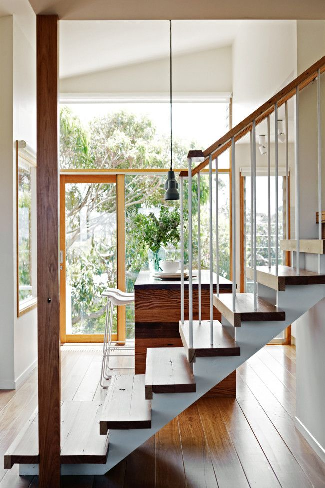 Staircase Interior designer Mardi Doherty's favourite feature of the home is the minimal, light-filled staircase.