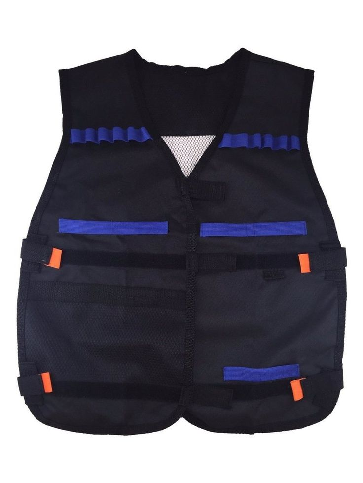 "EC2BUY Tactical Nerf Vest for Nerf N-Strike Elite Series. The Fury Strike Tactical Vest allows you to carry extra fire power even while your on the move!. Elite Darts work with any N-Strike Elite blaster and most original N-Strike blasters. Vest features storage pockets for an extra blaster and for extra Quick Reload Clip,load your clips, then store up to 12 extra darts in the Dart Storage Loops. Velcro straps adjust to fit most kid sizes. Size: 15"" x 14"" x 3' (Approx.)."
