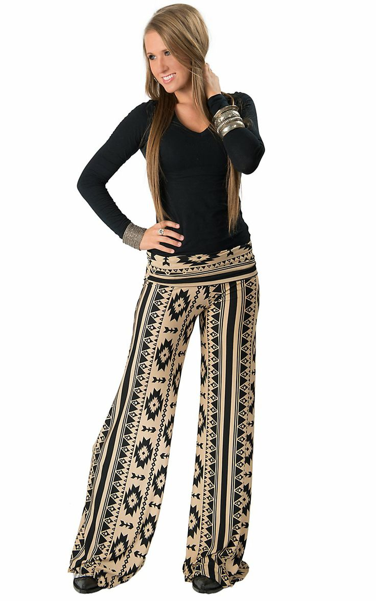 Karlie® Women's Tan with Black Aztec Print Palazzo Pants