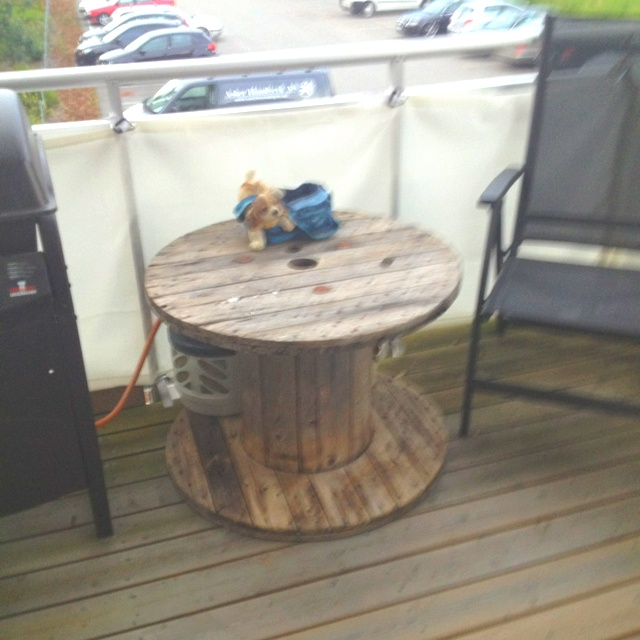 Old cable spool makes great outdoor table.