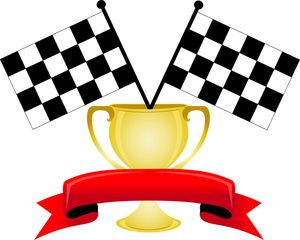 Auto Racing Clipart Image: Banner with Room for Text over the Winners Trophy Cup and Two Checkered Flags