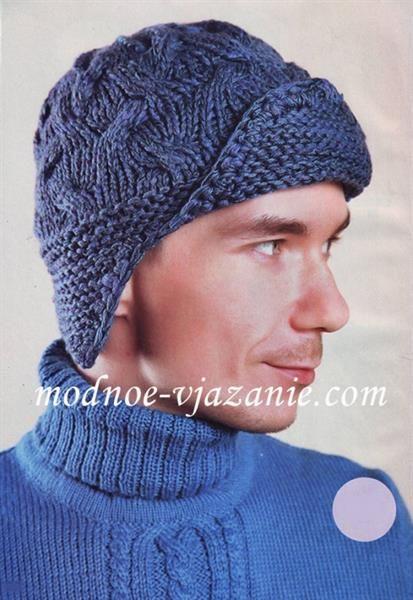 Мужская вязанная шапка с ушками
