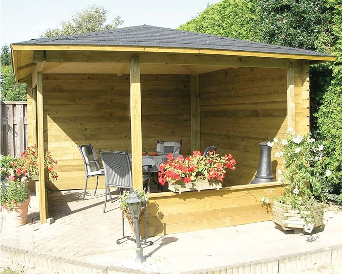 Corner Gazebo manufactured from solid 28mm walls. Measures 11'4 x 11'4