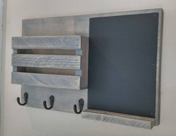 Chalkboard Mail Organizer, Mail Holder, Mail,  Rustic Organizer, Key Holder, Mail Organizer on Etsy, $42.00