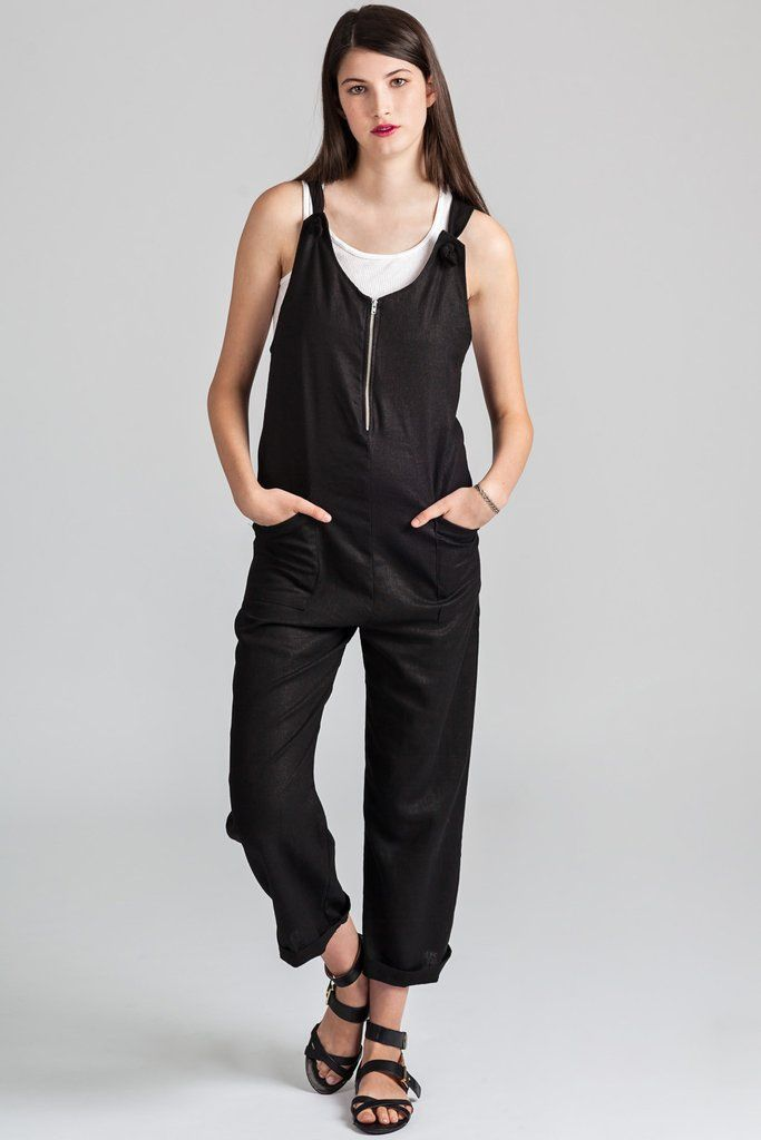 Cortes Overalls by eco-focused Canadian fashion label Pillar.  Loose fitting overalls with front zipper. Ethically made in Vancouver, Canada.