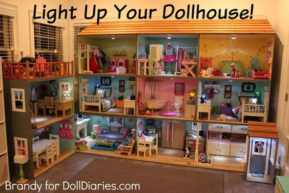 "Light Up Your Dollhouse! How to add lighting to a doll house for 18"" dolls like American Girl."