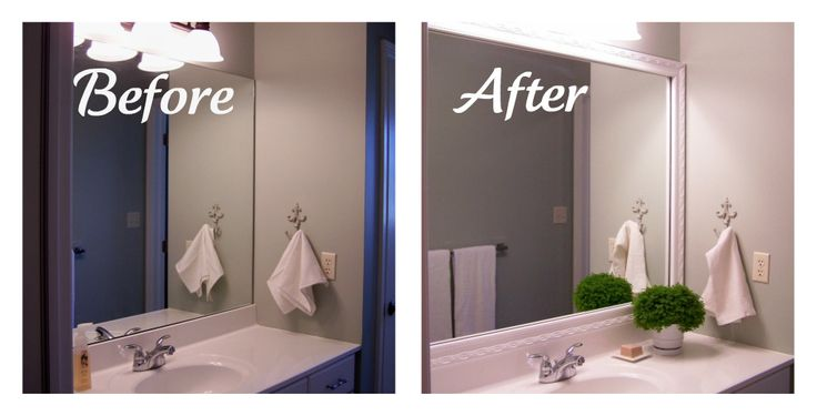 Framing Bathroom Mirrors With Crown Molding Google Search Bathroom Mirror Frame Diy Mirror