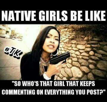White girl dating a native american meme