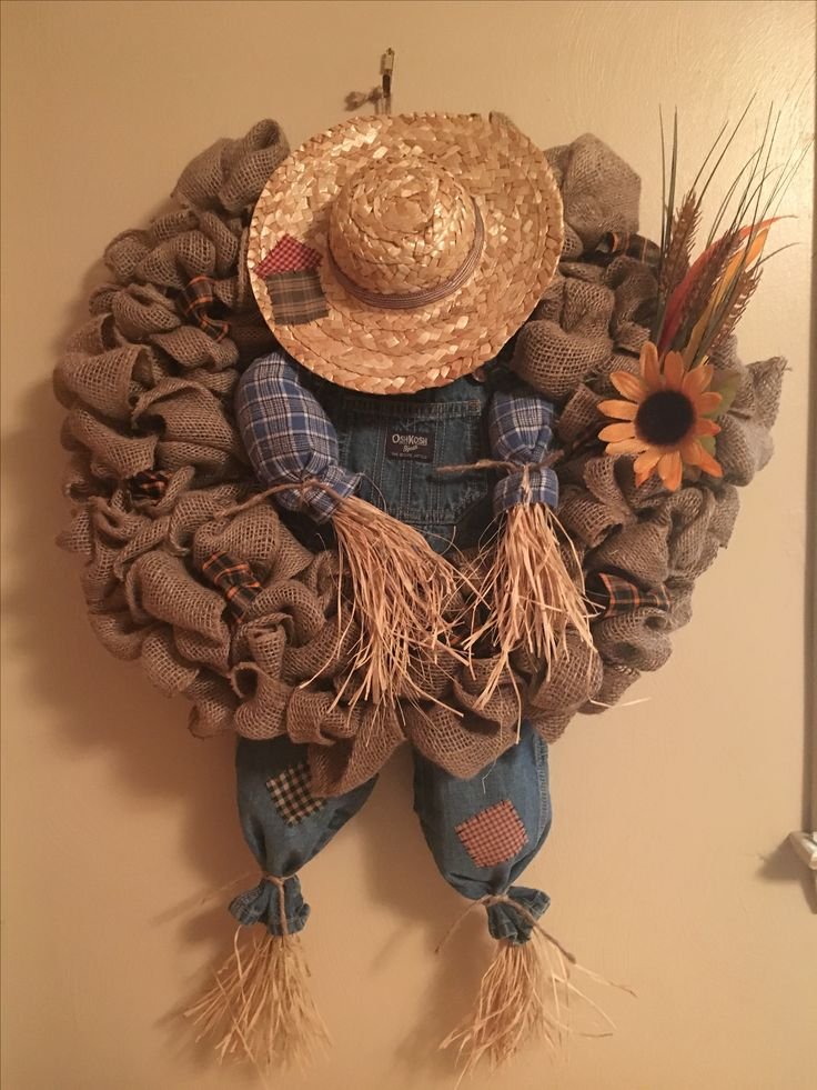 My burlap scarecrow wreath