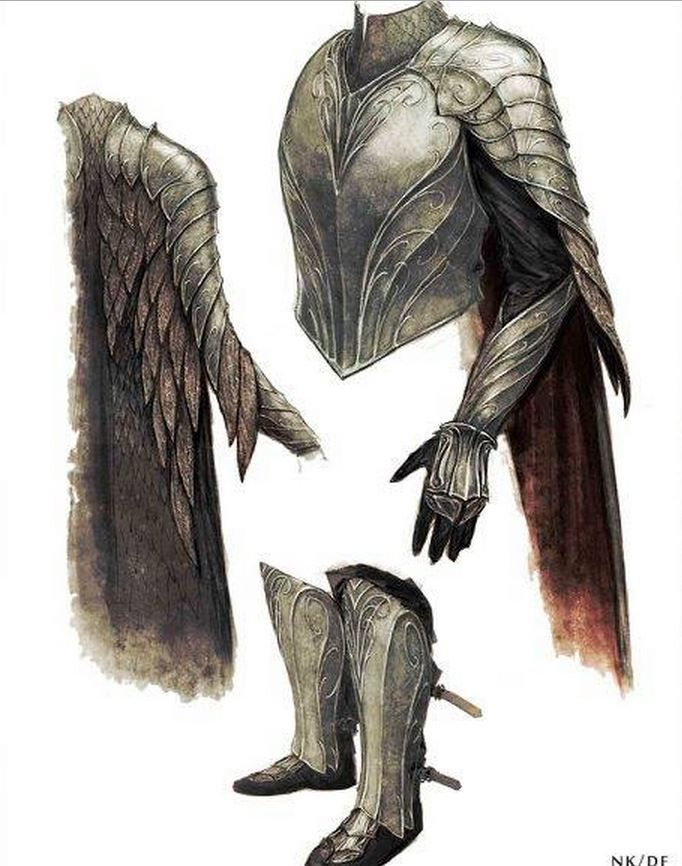 "Concept art for Thranduil's pauldrons and gauntlets from ""The Hobbit: Battle of the Five Armies"" (2014). As is typical of the elven aesthetic established for the trilogy, the armor reflects sinuous leaf-like lines."