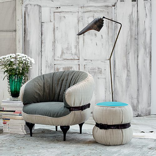 A pouf from the fashion world: it's Chubby Chic pouf by Diesel available on >> http://www.malfattistore.it/en/product/chubby-chic-pouf/ #malfattistore #shoponline #interiordesign #pouf #diesel #livingroom #armchair #italiandesign
