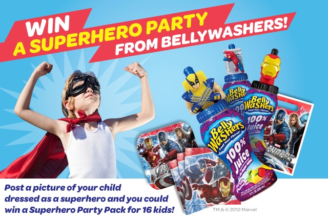 WANT TO WIN A SUPERHERO PARTY FROM BELLYWASHERS? Post an image of your child in a Superhero costume in the comment section and you will be automatically entered to win! Grand Prize is a Superhero Party Pack for 16 kids including superhero themed plates, napkins, banner, table cover, capes, a case of Superhero Bellywashers and [...]