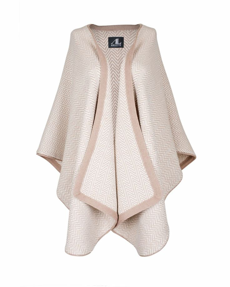 BABY ALPACA RUANA/ TRADITIONAL BLANKET COAT- HERRINGBONE - Champagne via Arlette Lee. Click on the image to see more!