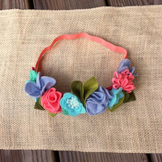 Felt Flower Crown // Coral Periwinkle Baby Blue by fancyfreefinery, $23.50