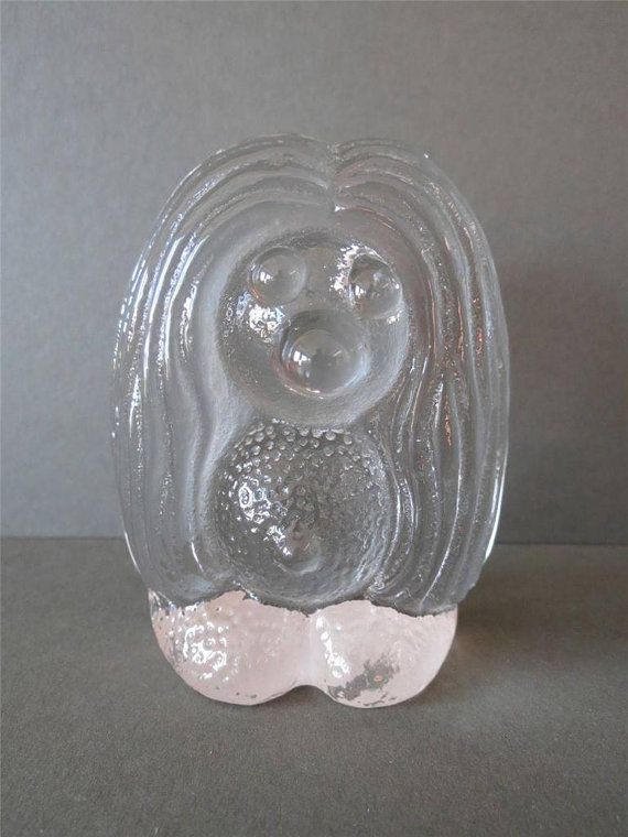 Large Vintage Bergdala Studios Swedish Art Glass Troll Figurine Paperweight