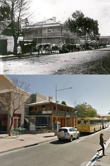 The Red Cow Inn, Station Street, Penrith in circa 1910 and 2013. The red Cow was built by Thomas Smith in the early 1880's. It replaced an earlier Red Cow Inn that Smith built nearby in 1865. [circa 1910 - Penrith City Council>2013 - Google Street View. By Phil Harvey]