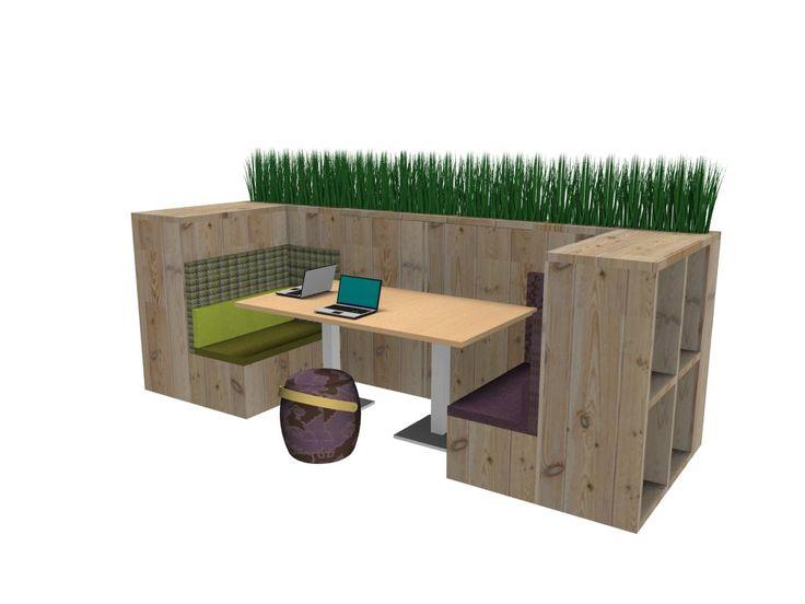 Lounge werkplek van hout gecombineerd met een poevenkast en beplanting, multifunctioneel, Het Nieuwe Werken, Design, interieurontwerp, kantoorinrichting, www.facilitymps.com