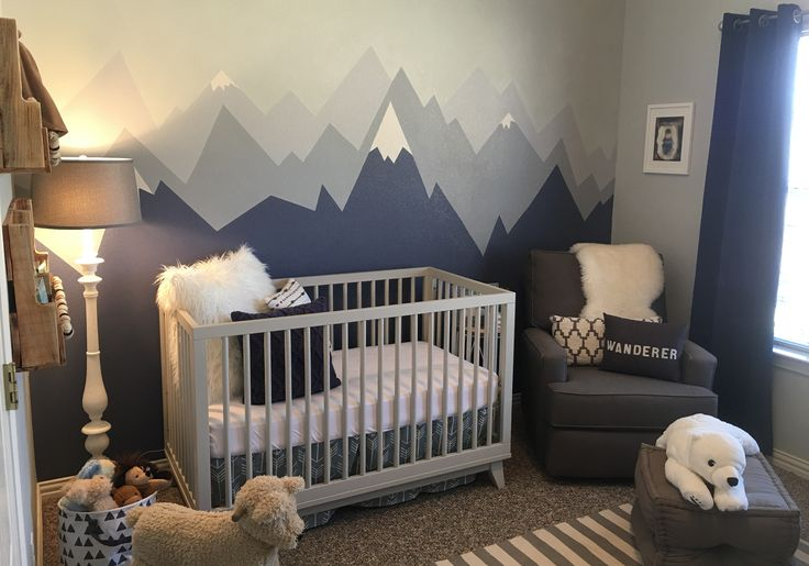 When we found out we were having another baby boy I immediately knew I wanted a mountain wall! That is where my adventure nursery inspiration began.