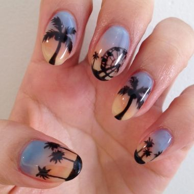 Tutorial for these Coachella nails -- cute palm trees and Ferris wheel scene for the music festival!