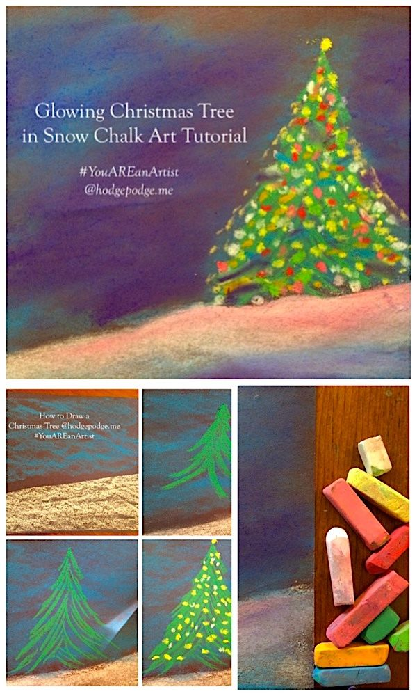 Enjoy a glowing Christmas tree chalk art tutorial and make a dreamy Christmas scene with your artists. The perfect art project to celebrate the season.