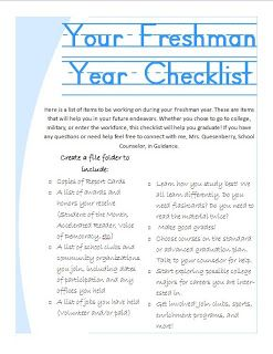 Checklist for 9th grade freshmen to encourage graduation high school school counselor