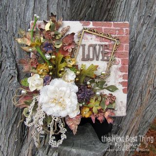 """""""In Love with Fall"""" by Lynne Forsythe.  A canvas with Petaloo flowers , berries, leaves and trims!  Plus Coredinations paper and Xyron adhesives."""