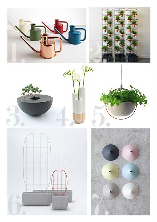 Green homewares 1. Watering Can by Kontextür – Available in Australia through Design Public 2. Lanna Garden Column by Ute Design 3. Handbuilt Hemisphere Planter by L and M Studio 4. PIK Vase by Y'a Pas Le Feu Au Lac / Horne 5. Hanging Pot – Materiality by Panoramica 6. Plantrellis by Luca Nichetto / Berga 7. Toer Fuji Vase for Serax – Available in Australia through Beautiful Spaces – Inside and Out